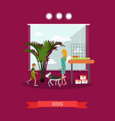 Buying a dog in flat style vector