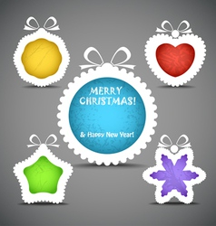 Christmas speech clouds of toys silhouettes vector image vector image