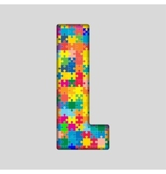 Color puzzle piece jigsaw letter - l vector