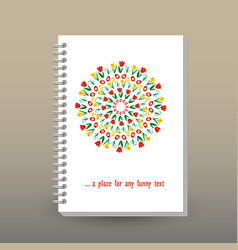 Cover of diary or notebook spring floral mandala vector