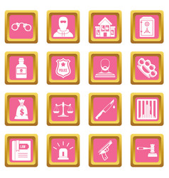 Crime and punishment icons pink vector