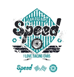 Emblem of the racing car in retro style vector
