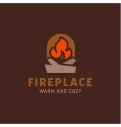 Fire in the fireplace with firewood vector