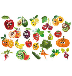 fruit and berries and vegetables characters vector image