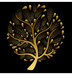Gold Tree isolated on Black Background vector image vector image