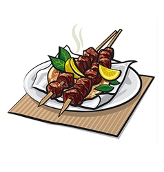 greek meat kebabs vector image
