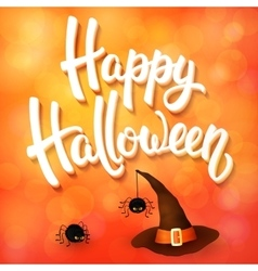 Halloween greeting card with witch hat spiders vector image