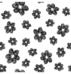 Hand drawn flower pattern black white vector