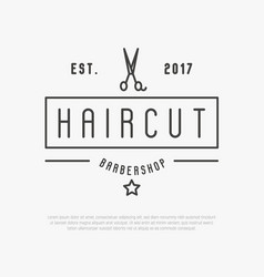hipster logo for barber shop with scissors vector image vector image