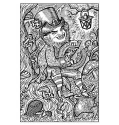 Leprechaun and pot with gold engraved fantasy vector