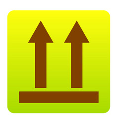 Logistic sign of arrows brown icon at vector