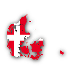 Map and flag of denmark vector