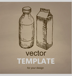 milk hand drawn vector image vector image