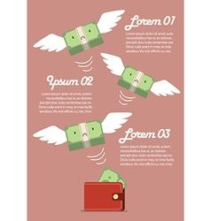 Money bill flying out of wallet infographic vector image vector image