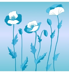 Poppy in blue style vector