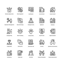 Project management line icons set 7 vector