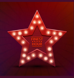 retro light sign star finest hour vector image