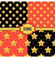 Set collection of seamless patterns with stars vector