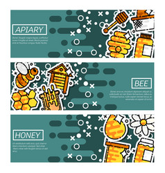 Set of horizontal banners about apiary vector