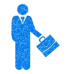 Standing businessman grainy texture icon vector
