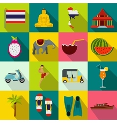Thailand icons set flat style vector