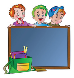 three boys standing behind a chalk board vector image