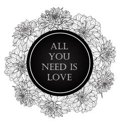 Valentine card with dahlia flower wreath vector image vector image