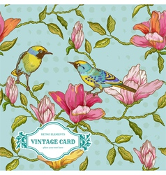 Vintage Card - Flowers and Birds vector image vector image