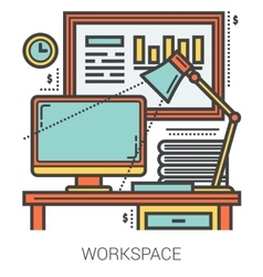 Workplace line infographic vector image vector image
