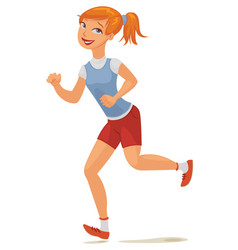 young girl jogging vector image