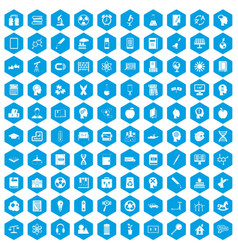 100 education icons set blue vector image vector image