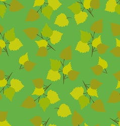 Birch leaves green background vector
