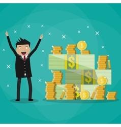 businessman standing near huge pile of money vector image