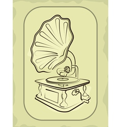 Ancient antiquarian gramophone vector