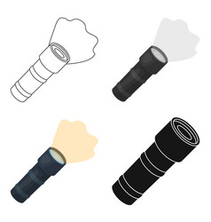 Flashlight icon in cartoon style isolated on white vector