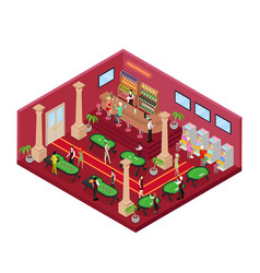Casino interior with roulette isometric vector