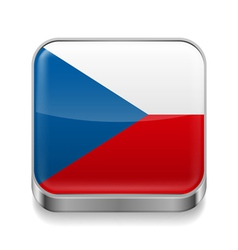 Metal icon of czech republic vector