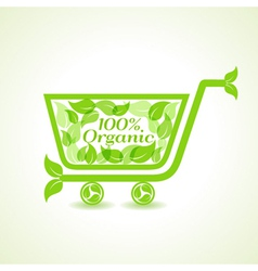 Eco shopping cart with group of green leaf vector