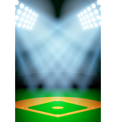 Background for posters night baseball stadium in vector