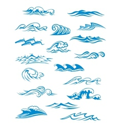 Ocean or sea waves surf and splashes set vector