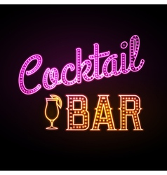 Neon sign cocktail bar vector