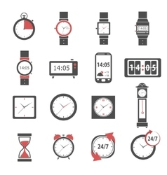 Time icon black set vector