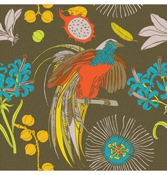 Tropical flowers birds vector