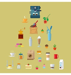 Cafe equipment icons collection vector