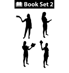 Silhouette book set 2 vector