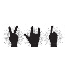 Grunge hand signs peace rock and indication finger vector