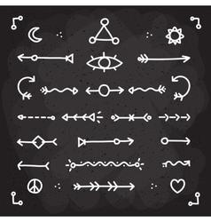 Hand drawn chalk arrows set vector