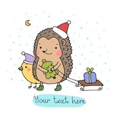 A hedgehog a bird a gift and a Christmas tree vector image