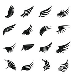 Wing icons set simple ctyle vector