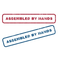 Assembled by hands rubber stamps vector